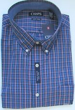 NWT Chaps Button Down Dress Shirt Easy Care Jewel Blue Plaid Assorted Sizes