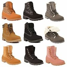 Kids Girls Ankle Army Boots Chunky Winter Combat Childrens Walking Shoes Size