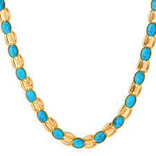 Fashion Turquoise Jewelry Blue Stone Beaded Necklace Gold/Platinum Plated Gift