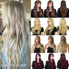 Sexy Ladies Wig Long Straight Curly Full Head Wigs Cosplay Party Fancy Dress Red