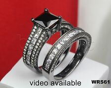 Black Rhodium Plated Sterling Silver 925 Nickel Free Engagement Wedding Ring Set