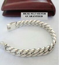 "Men 7.5"" 69 g Chunky Biker Cuban Curb Chain solid 925 Silver Sterling Bracelet"