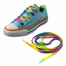 Rainbow Flat Canvas Athletic Shoelace Sport Sneaker Shoe Laces Strings NEW