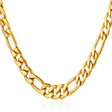 Classic Gold Plated Figaro Link Chain Necklace 5mm Men Jewelry Free Shipping