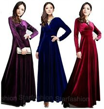 Sexy Women V Neck Velvet Long Evening Formal Cocktail Dress Party Prom Ball Gown