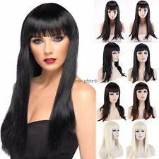 Stylish Long Straight Full Head Wig Flat Fringe Cosplay Party Daily Vogue Red MN