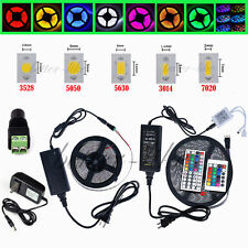 5M SMD 3528 5050 5630 3014 7020 300LEDs RGB LED Strip +Remote +12V Power Supply