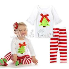 Baby Girls Kids Clothes Christmas Tree Long Sleeve Tops +Striped Pants Outfits