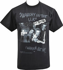 MENS BLACK T-SHIRT SEX PISTOLS ANARCHY IN THE UK I WANNA BE ME BANNED PUNK S-5XL