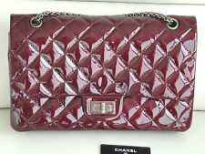 Authentic Chanel 2.55 Jumbo Patent Leather Bag Burgundy Double Flaps