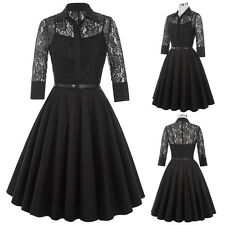 Stock Womens Retro Vintage 50s Style Lace Swing Flared Belt Elegant Casual Dress