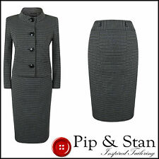 NEW NEXT UK12 US8 PENCIL SKIRT SUIT BLACK GREY 60S INSPIRED WOMENS LADIES SIZE
