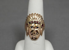 ESTATE HAND MADE INDIAN CHIEF 14kt  YELLOW GOLD w RUBIES & SAPPHIRES MENS RING