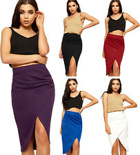 Womens Elasticated Wrapover Midi Skirt Ladies Stretch Knee Length Plain 8-14
