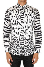 MOSCHINO COUTURE New Men White Black Leopard Print Popeline cotton shirt NWT