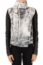 RICK OWENS DRKSHDW Woman Denim Jacket with Details in Leather Made in Italy