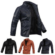 Fashion New Mens Slim Fit Coat Stand Collar Faux Leather Outerwear Biker Jackets