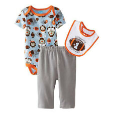 Baby Boy 3 pc Bodysuit, Pant & Bib Set Newborn Cotton Outfit 0-9 months