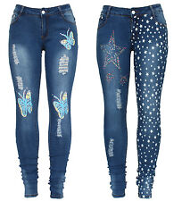 New Ladies Blue Stretch Butterfly Star Print Skinny Slim Fit Denim Jean UK 6-14