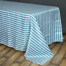 90x156 in. Satin Rectangle Striped Seamless Tablecloth Wedding/Party/Banquet