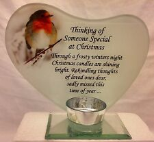 Christmas Memorial Glass Photo Frame with Verse and Tea Light Candle Holder