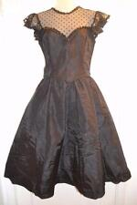Vtg 80s does 50s GUNNE SAX black GOTH Bombshell cocktail Party Lace  DRESS s-m