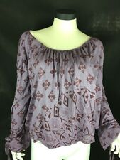 New Free People Purple Blouse Loose Fit Doll Style Top Sz M