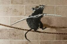 Stretched Tightrope Rat Canvas Print by Banksy Graffiti Urban Street Art