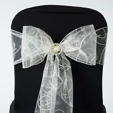 5/PK ~NEW~ Embroider Organza Chair Sash Bow Wedding Party Banquet  15+ Colors!