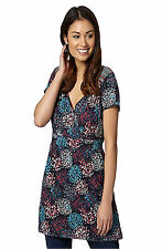 NEW MANTARAY BLACK TEAL RED FLORAL JERSEY TUNIC TOP 10 12 14 16 18 20