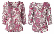 NEW WHITE STUFF PLUM PINK BLOSSOM FLORAL TOP BLOUSE TUNIC UK SIZE 8 10