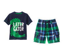 NWT Gymboree OUTDOOR EXPLORER Size 2T 3T 4T Later Gator Tee & Plaid Cargo Shorts