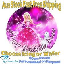 20cm Round Barbie Edible Image Icing or Wafer Cake Topper Kids Birthday