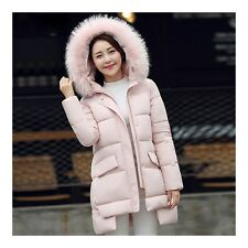 Plus Size Fur Collar A-line Middle Long Down Coat Cloth pink