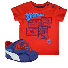 PUMA SUPERMAN BABY TRAINERS WALKER SHOES + T-SHIRT BLUE RED GIFT SET 17-19