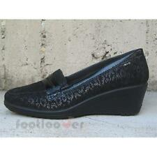 Scarpe Enval Moccasin Woman 49533 Suede Leopard Black Wedge Made in Italy