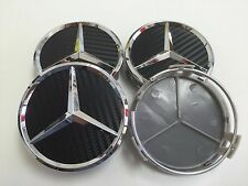4pcs 75mm/ 3 INCH CARBON WHEEL BADGE CENTER HUB CAPS FOR MERCEDES BENZ