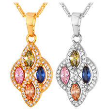 Deluxe Multicolor Marquise Cut CZ Pendant Necklace 18K Gold Plated Jewelry Gift