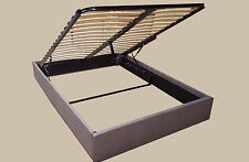 Grey Fabric Gas Lift Storage Bed Base Queen / Double