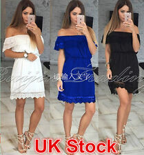 Sexy Womens Off Shoulder Summer Mini Dress Ladies Lace Party Casual Short Dress