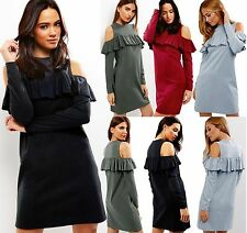 Womens Ladies Casual Cut Out Long Sleeve Ruffle Frill Cold Shoulder Tunic Dress