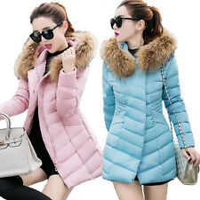 Women Ladies Slim Long Winter Wool Collar Hooded Warm Down Parka Coat Jacket