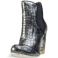 Irregular Choice Mind Games Womens Boots Black Silver New Shoes