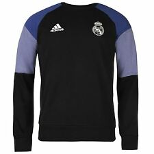 Adidas Real Madrid Sweatshirt Mens Black/Purple Football Soccer Top Sweater