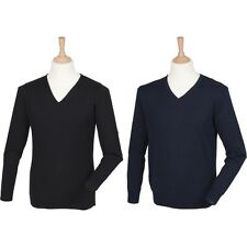 Mens Henbury Cashmere Touch Acrylic V Neck Warm Jumper Sweater Top