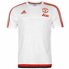 Adidas Manchester United T-Shirt Mens White/Red Football Soccer Top Tee Shirt