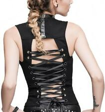 Devil Fashion black Top Vest Backless with lacing Gothic Visual Kei