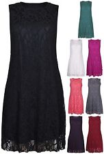 Womens New Floral Lace Lined Ladies Sleeveless Vest Short Mini Dress Plus Size
