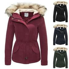 Only Womens Ladies Parka Jacket Coat Hooded Fur Collar Winter 8 Colors NEW
