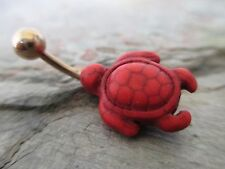 Red Natural Howlite Stone Turtle Belly Button Navel Ring Gold IP